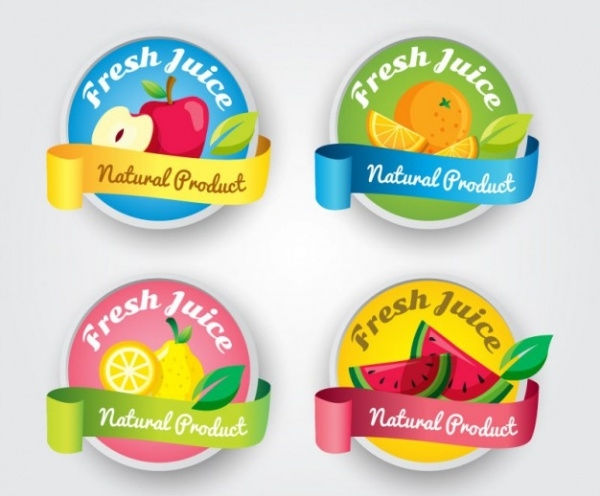 Fresh Juice Food Labels Designs