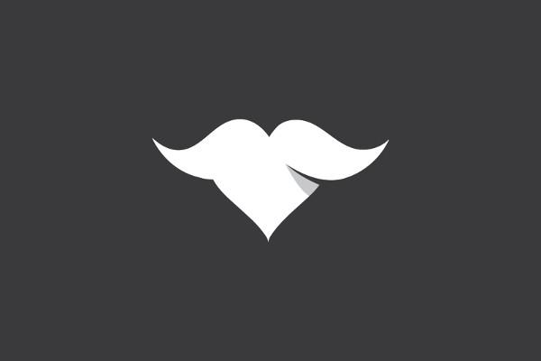 Funny Heart Mustache Logo