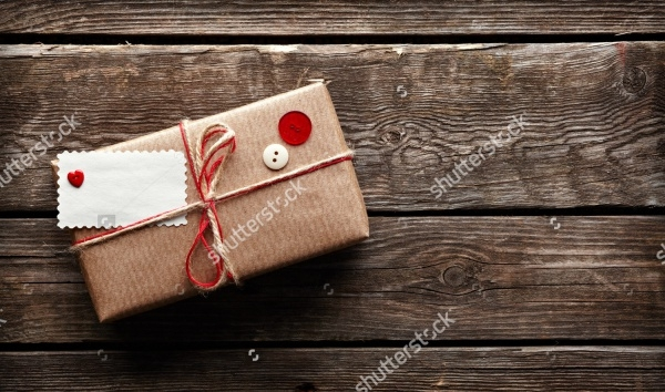 Gift Box Packaging On Wooden Background
