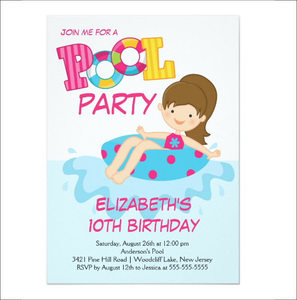 girl summer swimming party invitation1