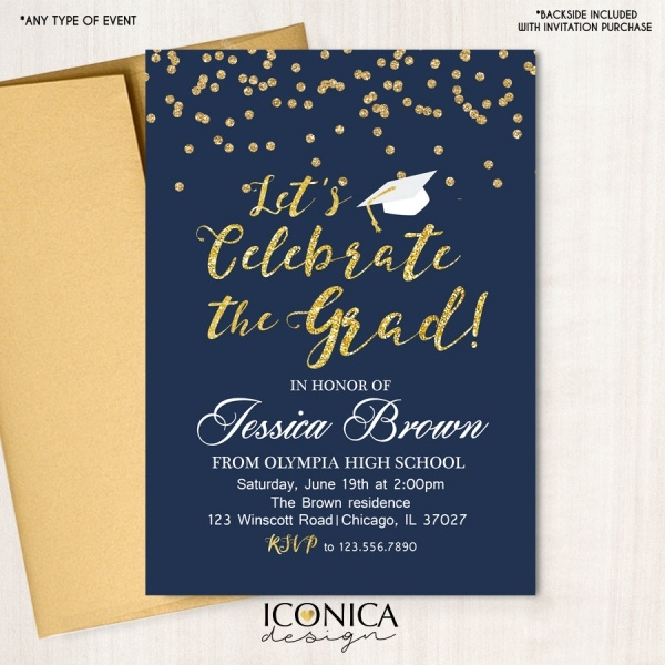 Glitter Grad Party Invitation