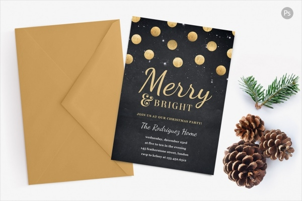 Gold Confetti Holiday Party Invite Card