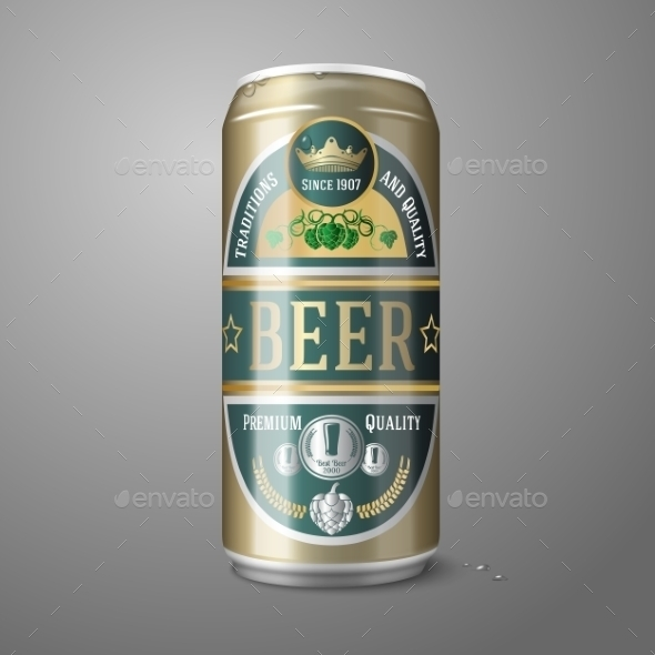 Golden Beer Can with Label