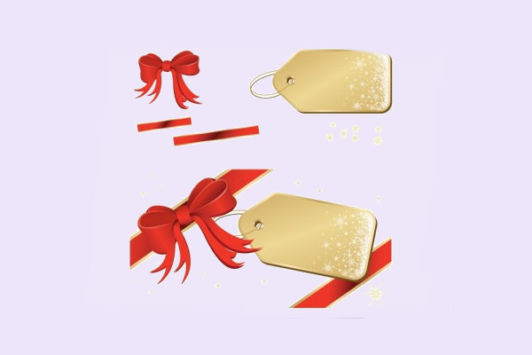 Golden Tags with Red Ribbon Vector