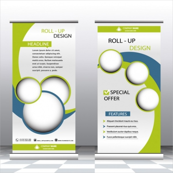 Green & Blue Roll Up Template Design