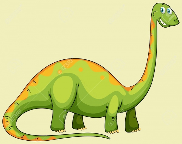 Green Dinosaur with Long Neck Clipart