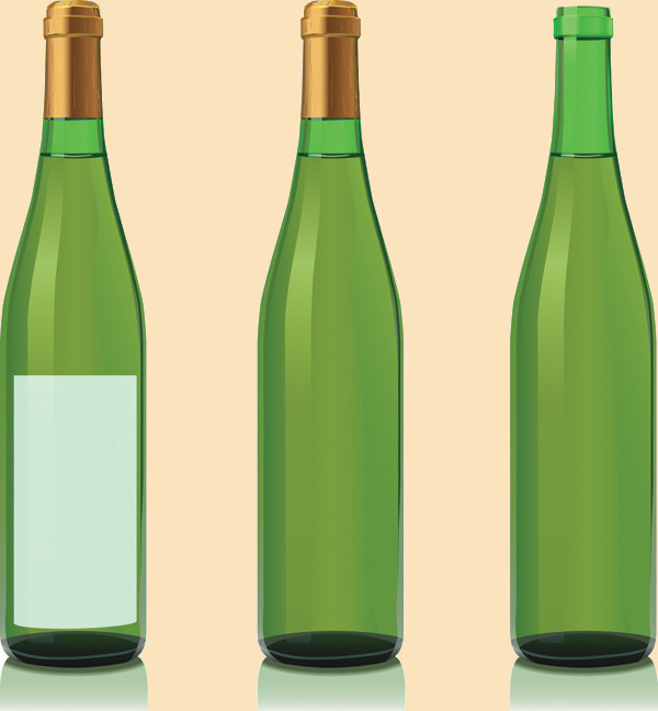 Green Colored Wine Bottle Vector