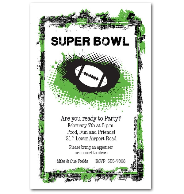 Grunge Super Ball Football Party Invitation