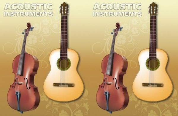 Guitar and Violin Free vector