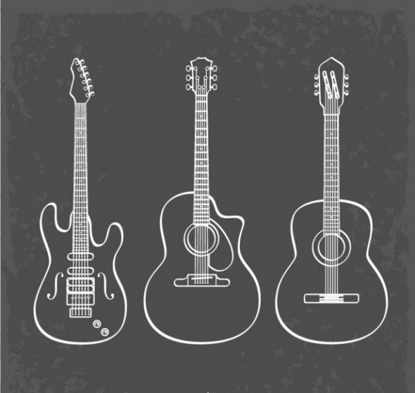 Guitar Line Art Vector Design