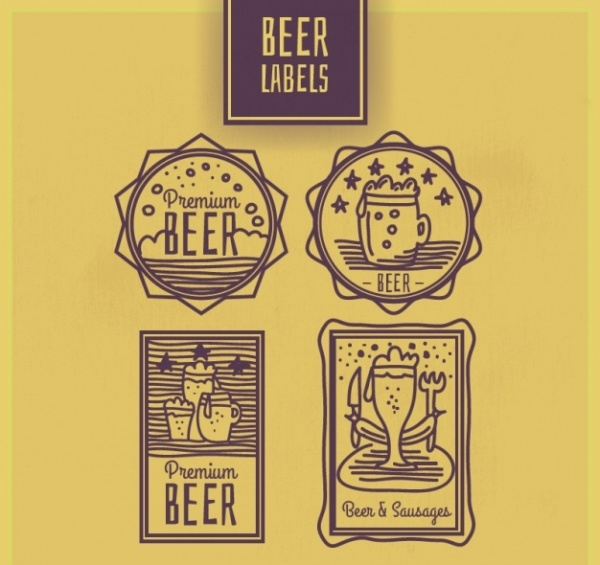 Hand Drawn Beers Stickers Labels