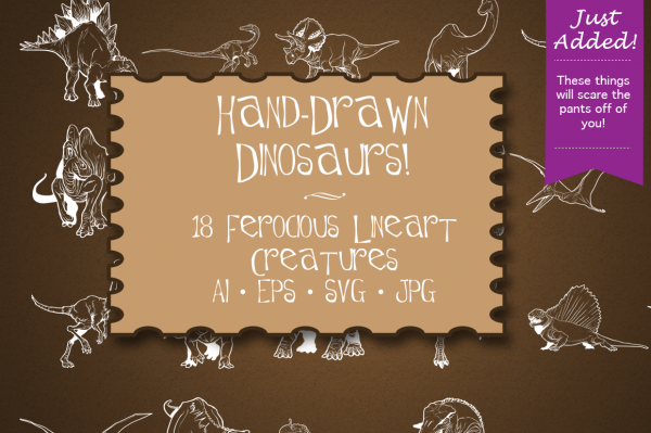 Hand Drawn Dinosaurs Clipart