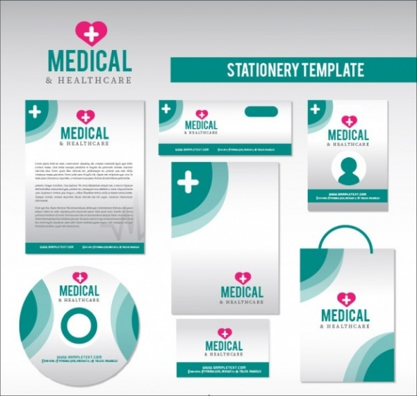 Healthcare Stationery in Green Color Presentation