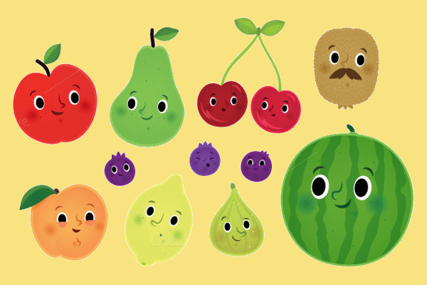 High Resolution Cute Fruit Illustration