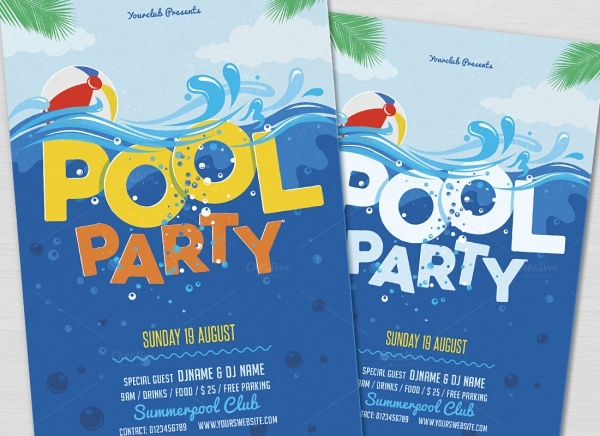 High Resolution Pool Party Flyer