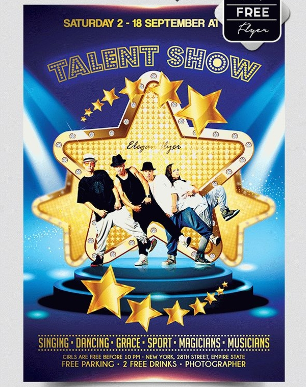 HipHop Talent Show Free Flyer PSD