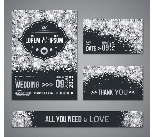 Holiday Wedding Cards Silver Design