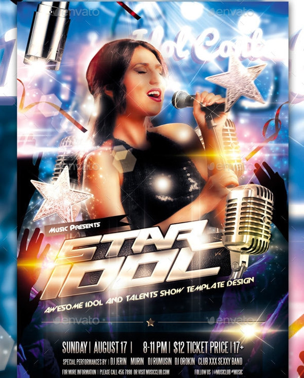 Idol Sing Talent Show Flyer