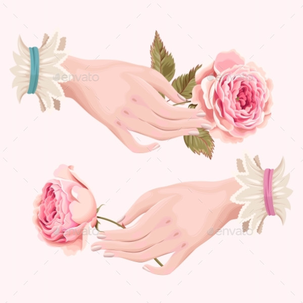 Illustration Of Hand With Roses