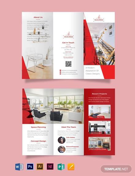 interior designer tri fold brochure template1