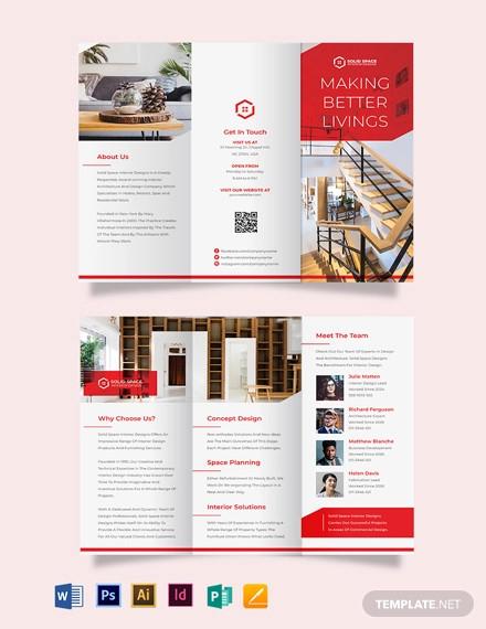 interior studio tri fold brochure template