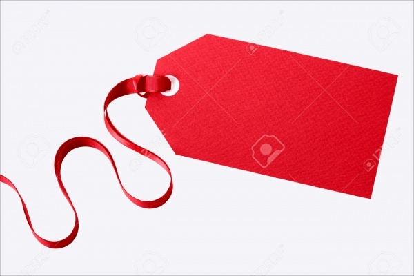 Isolated Gift Tag with Red Ribbon