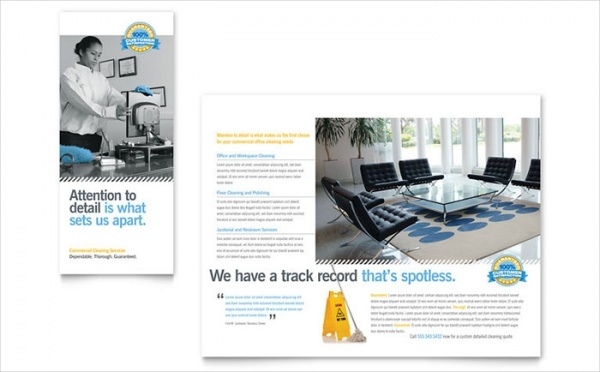 Janitorial & Office Cleaning Tri Fold Brochure