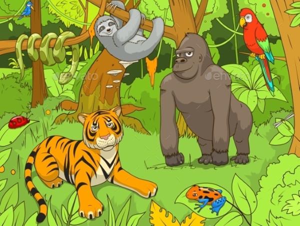 Jungle Animals Cartoon Illustration
