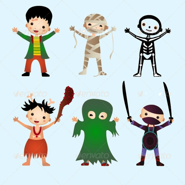 Kid's Clip Art Illustration in Halloween