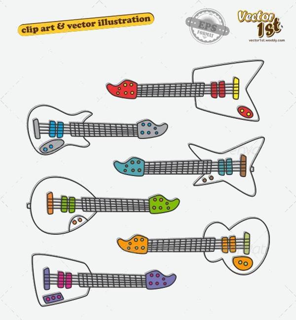 Kids Colorful Guitar Vector