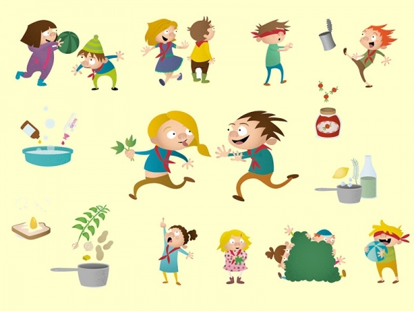 Kids Scout activities illustrations