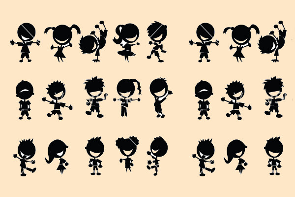 Kids Silhouettes Dancing Vector