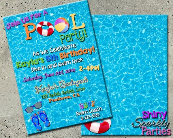 kids swimming party invitation
