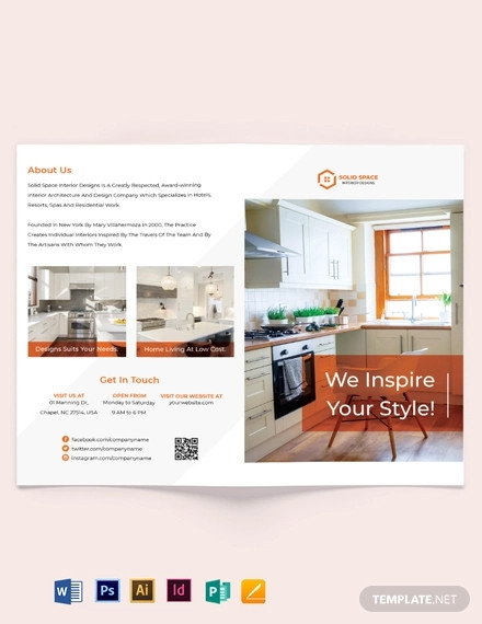 kitchen interior bi fold brochure template