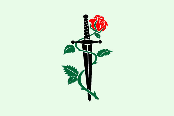 knife rose sword vector