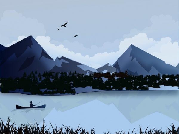 Lake Landscape Illustration
