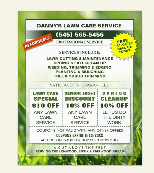 Lawn Care Business Coupons Flyer