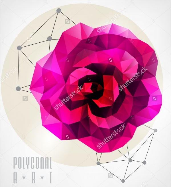Low Poly Hipster Rose Illustration