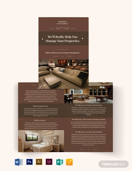 luxury property management bi fold brochure template