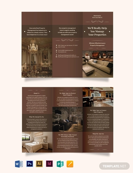 luxury property management tri fold brochure template