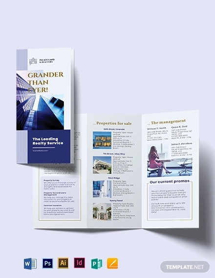 luxury property realtor tri fold brochure template