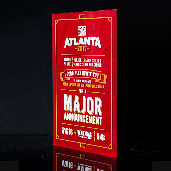 MLS Atlanta 2017 Announcement Acrylic Invitation