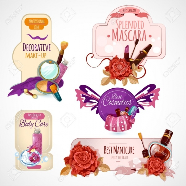 Makeup Skin Cosmetics Label Vector