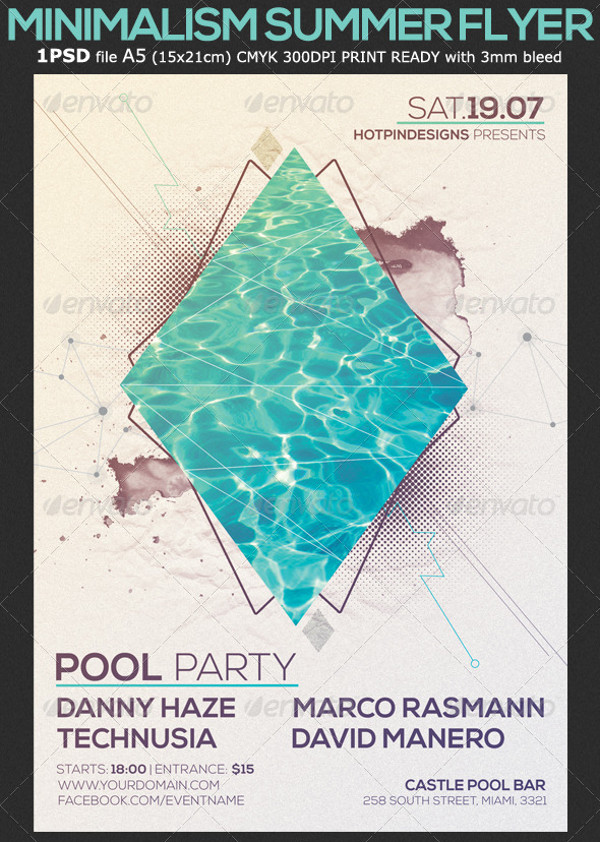 Minimal Flyer for Pool Party