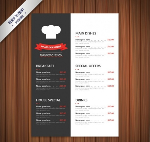 Menu Brochure Designs  Psd Vector Eps Jpg Download