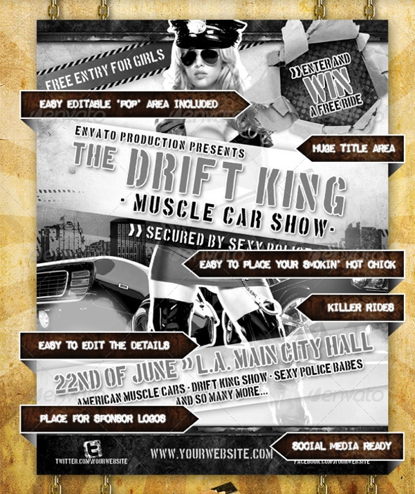 Muscle Car Show Flyer Design