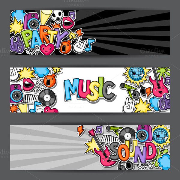 Music Party Kawaii Banner Template