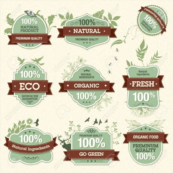 Natural Premium Food Quality Labels