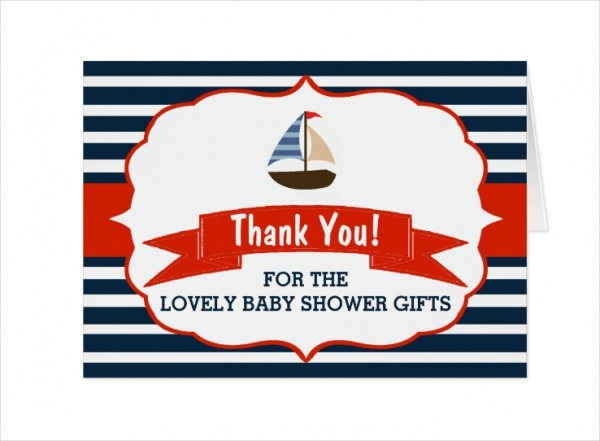 Nautical Boat Baby Shower Thanks Card