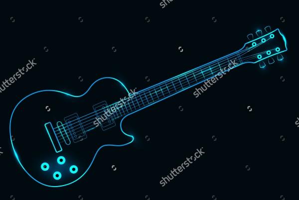 Neon Guitar Outline Vector